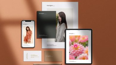 Photo of Modern Stationery Scene 2 with Apple Devices Mockup