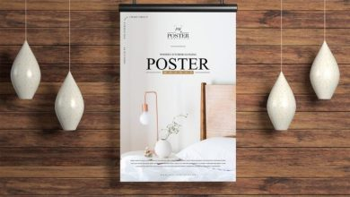 Photo of Wooden Interior Hanging Poster Mockup