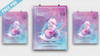Photo of Abstract DJ Party Poster PSD Template