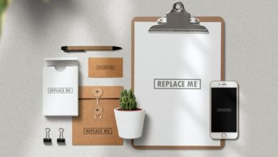 Photo of Stationery with Clipboard Mockup PSD
