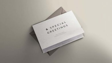 Photo of Greeting Card Mockup with Envelope Cover
