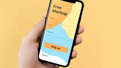 Photo of iPhone X in Hand Free PSD Mockup