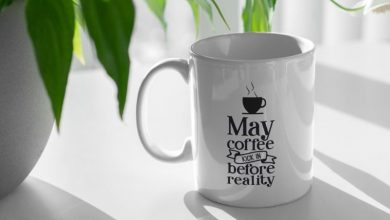 Photo of Coffee Cup and Plant PSD Mockup