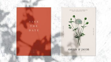 Photo of Leaf Shadow Overlay Save The Date Wedding Invitation Card Mockup