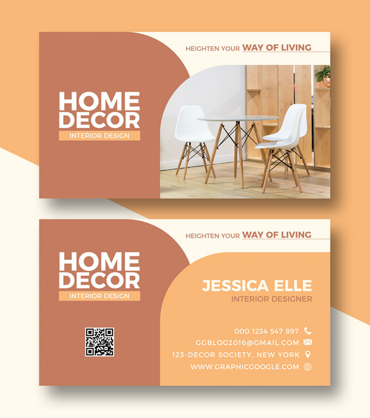Home Decors Business Card Design Template Psd Free Download