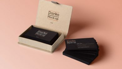 Free Realistic Stacked Business Card with Card Box Mockup