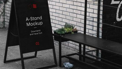 Outdoor sign A-Stand Mockup Free PSD