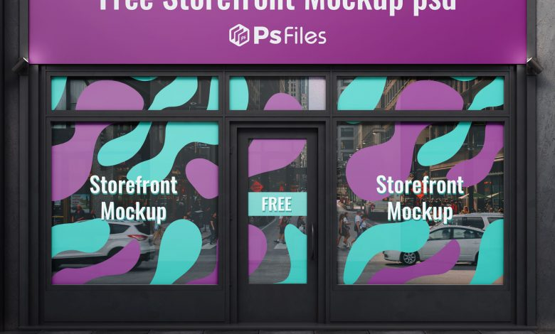 Free Storefront Sign Board and Glass Vinyl Sticker Mockup PSD