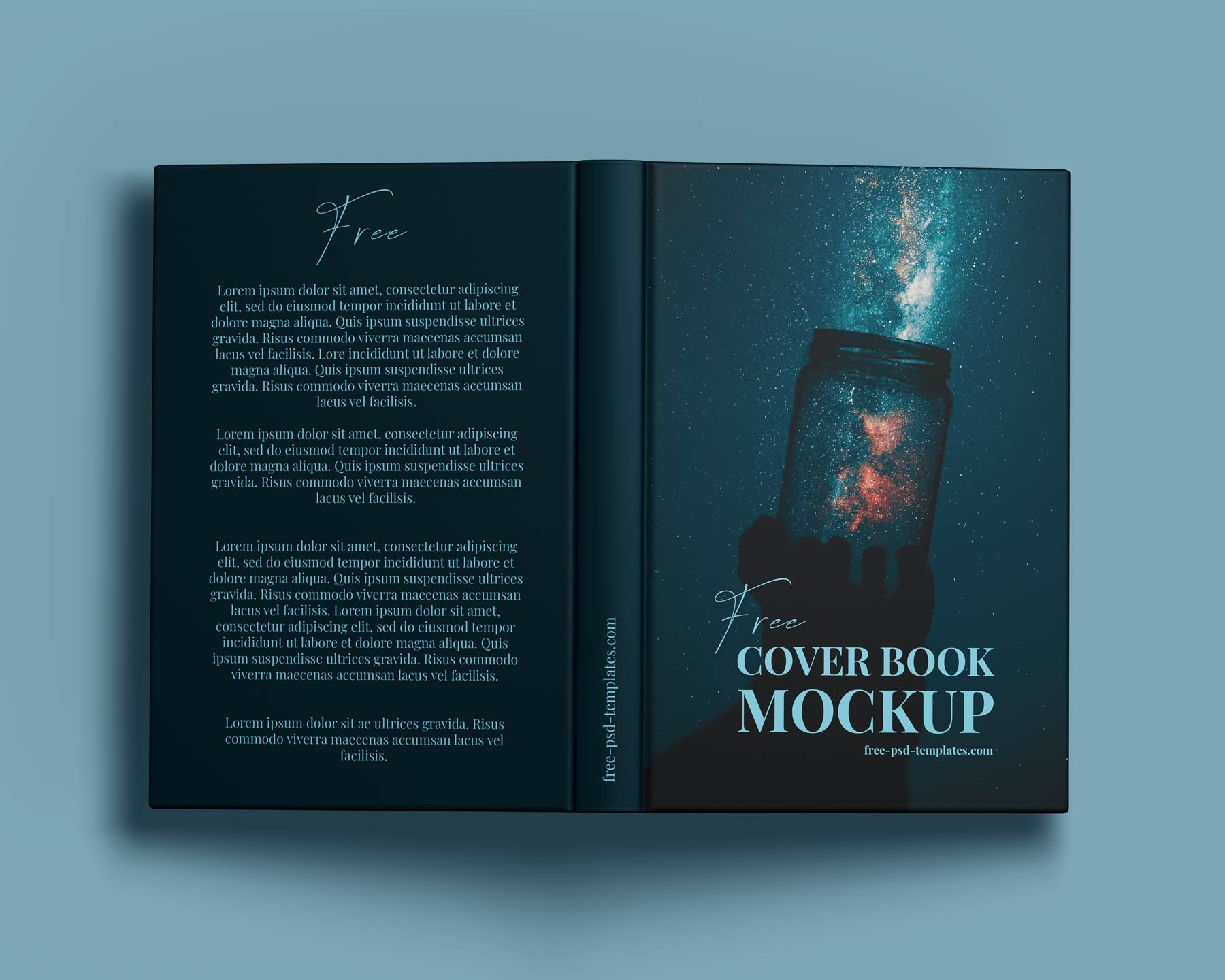 Hardcover Open Book Top view mockup