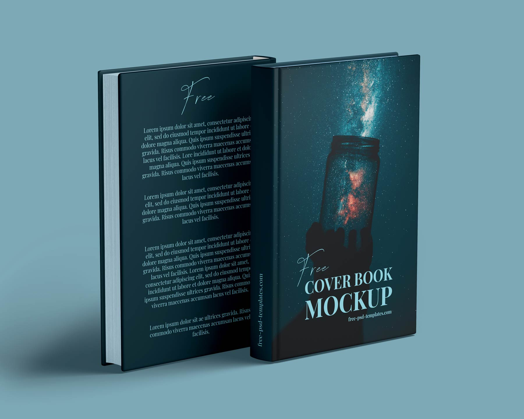 standing front and back of hardcover book mockup