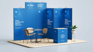 Free Exhibition Display Booth Mockup PSD Set