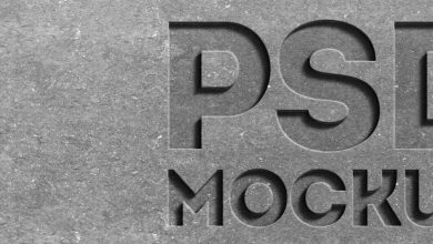Free Stone engraved text effect mockup PSD