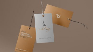 Free Floating Label Tags Mockup PSD
