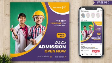Free School Admission Open Social Post Design PSD Template