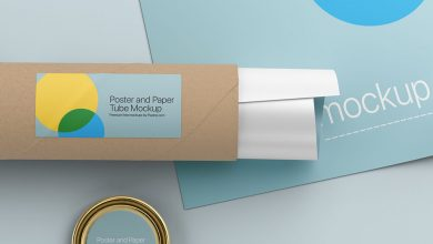 Free Poster with Paper Tube Mockup PSD