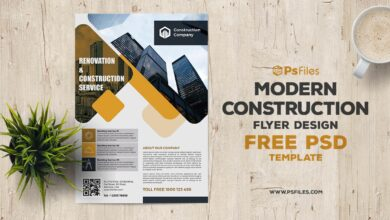 Free Modern Construction Company Flyer PSD Template