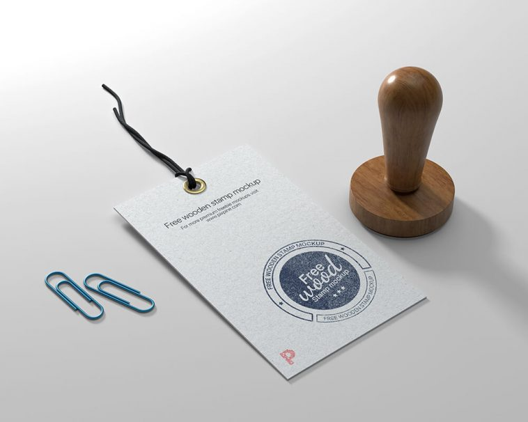 Label Tags Mockup with Wooden Stamp Mockup Free PSD